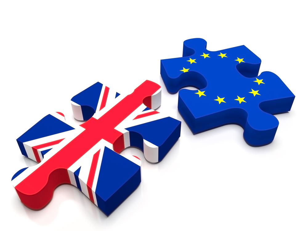 brexit - united kingdom and EU flags in the form of puzzle pieces