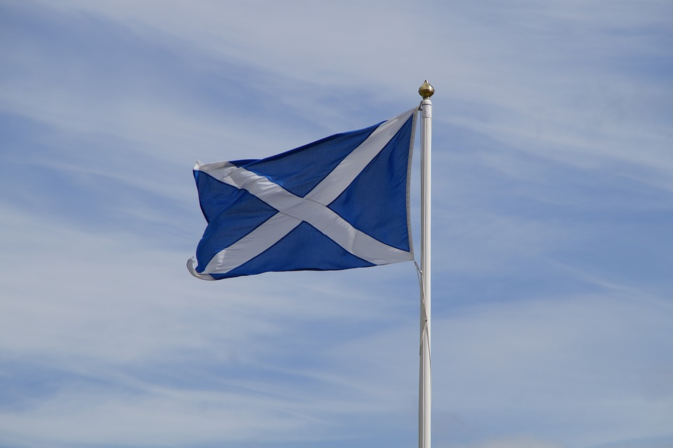 Scottish flag flying in the wind