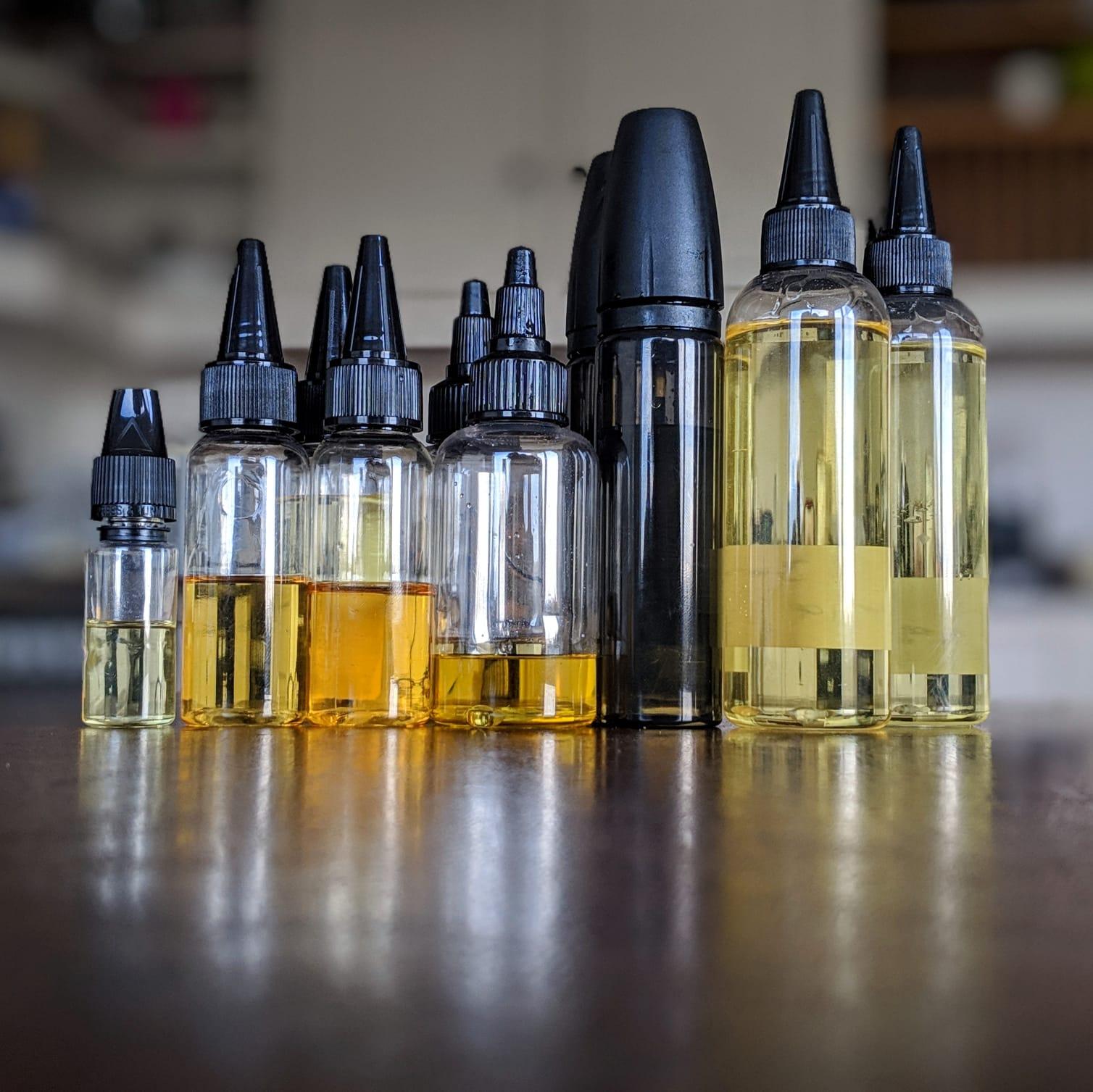 diy e-liquid bottles filled with flavoured vape liquid