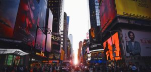 new york times square with sunset