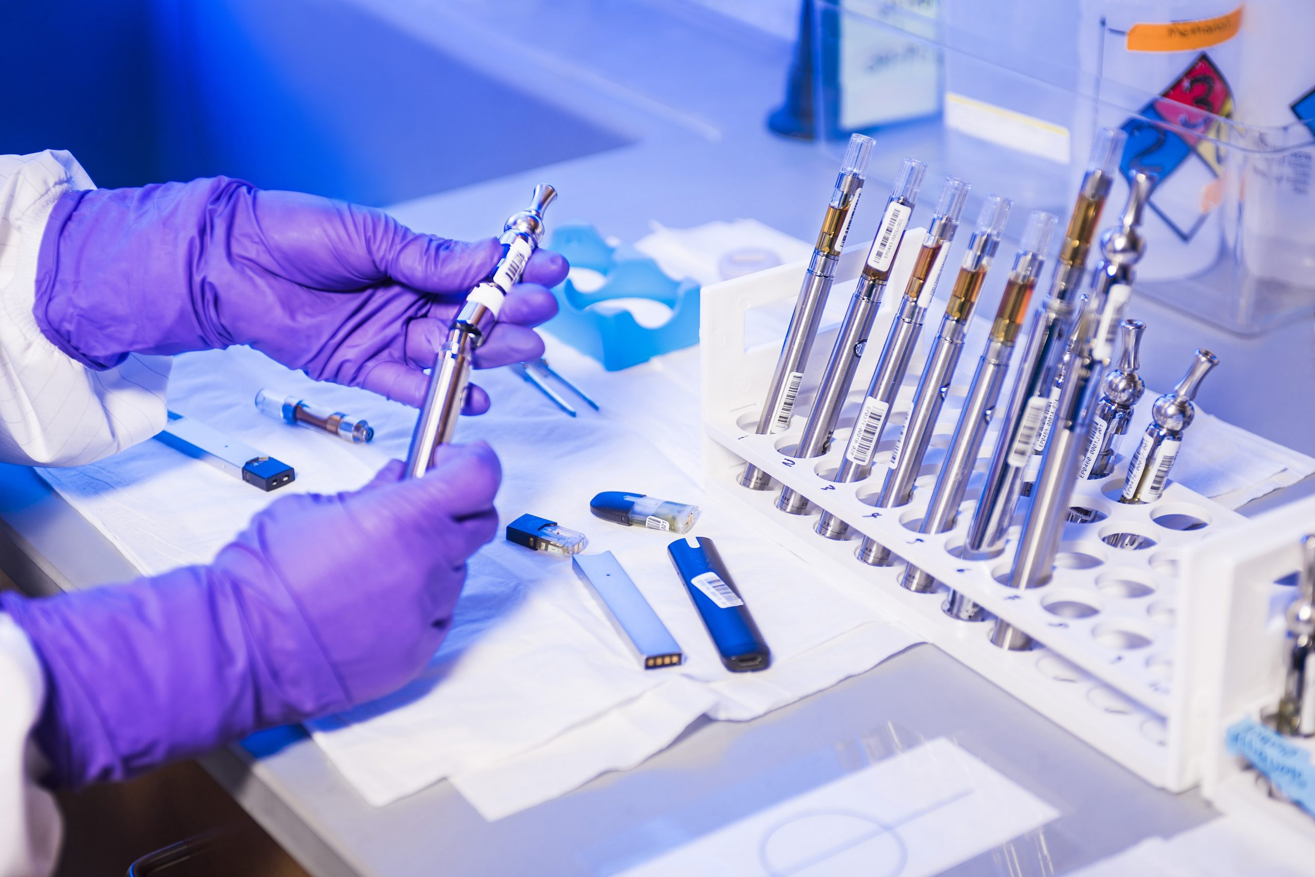 e-cigarettes and vaping products being tested in a science laboratory