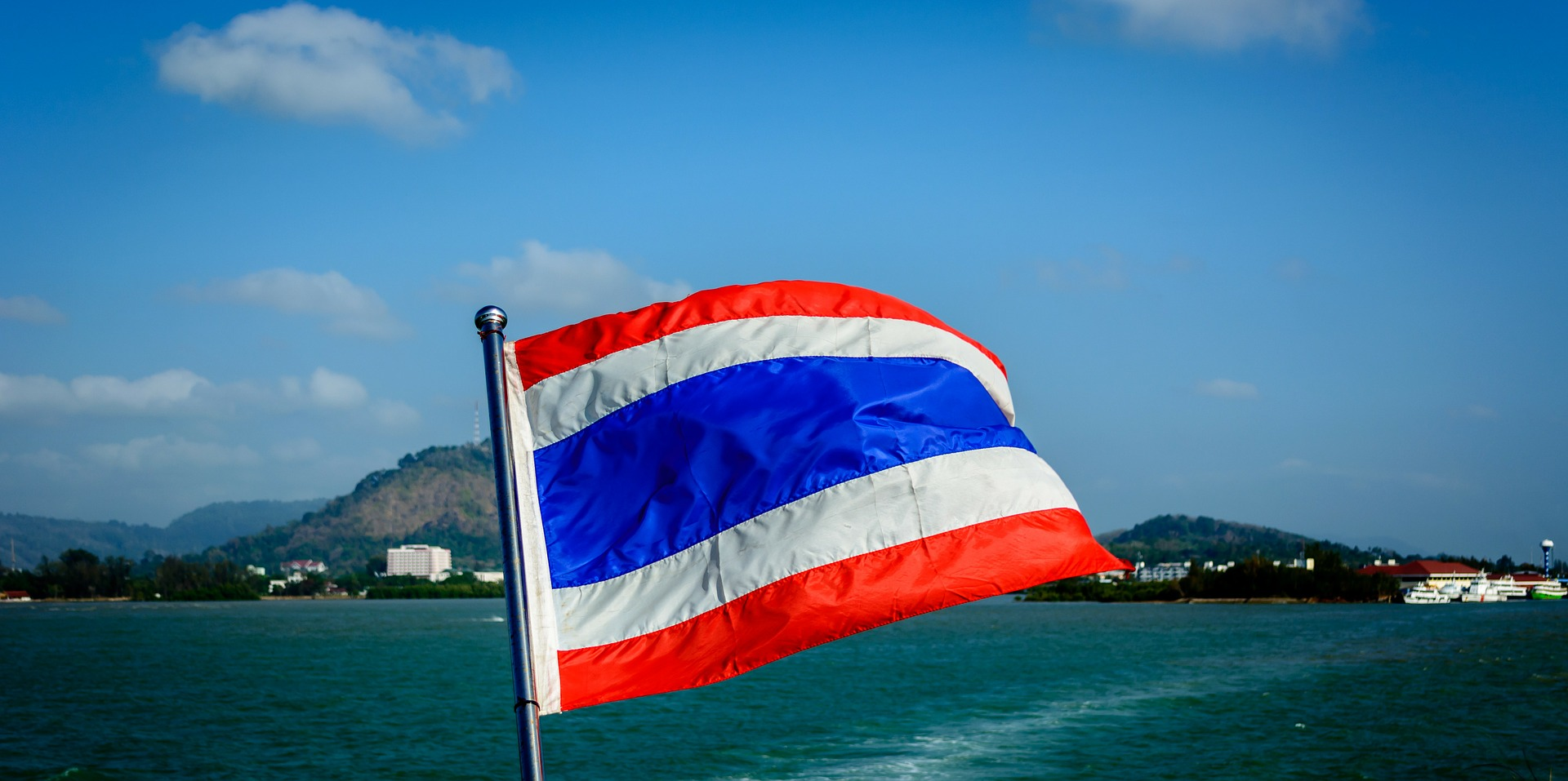 thailand flag blowing in the wind