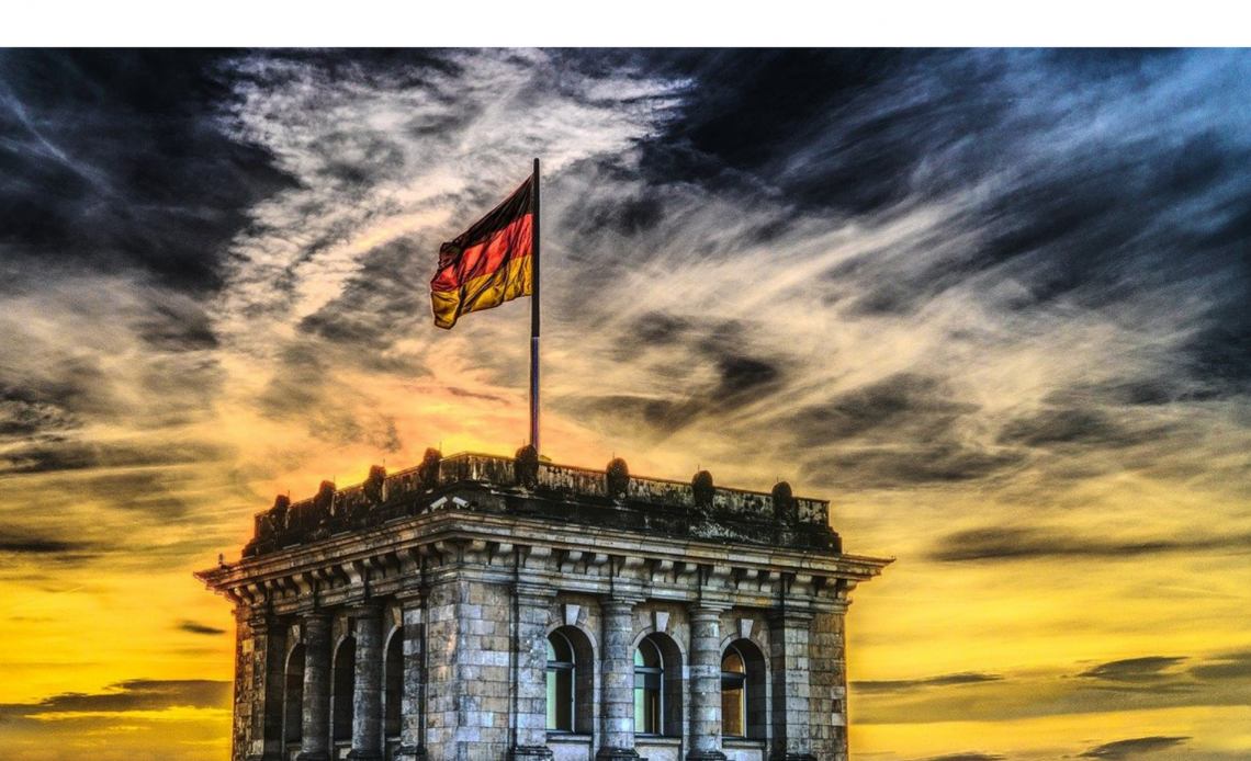 Bundesdag building with Germany flag