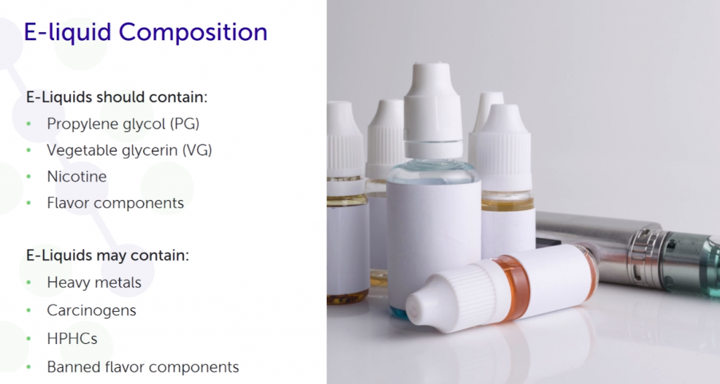 A slide from a presentation that shows the composition of an e-liquid with an image of plain white e-liquid bottles