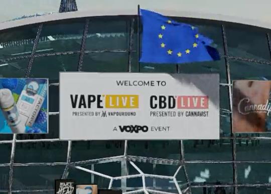 The Vape Live Europe flag above the auditorium entrance