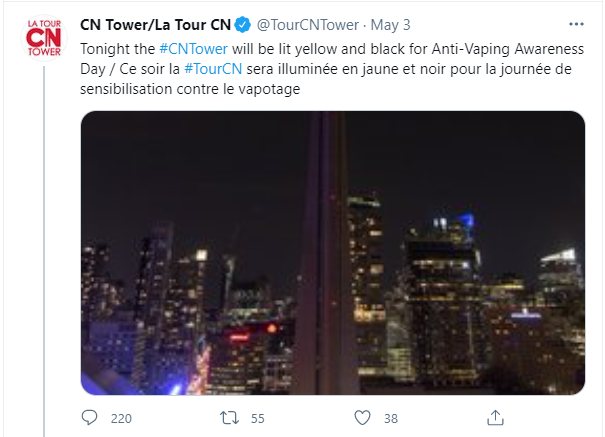 A tweet from the CN Tower Twitter account announcing their intention to light up yellow and black for anti-vaping awareness day