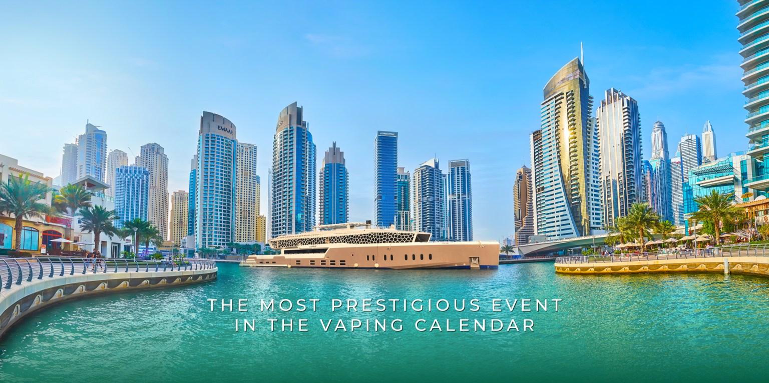 Vapouround Awards 2021 background image featuring the LOTUS Mega Yacht in Dubai Marina